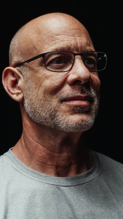 Elderly Man Wearing Black Framed Eyeglasses