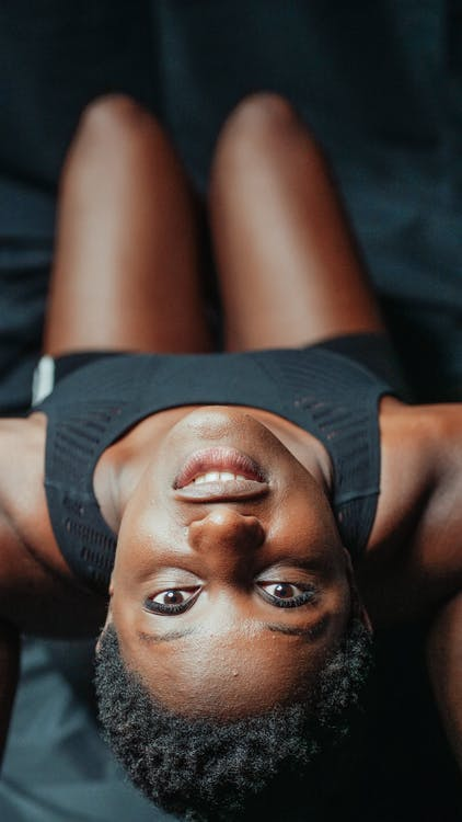 Woman with her Head Upside Down