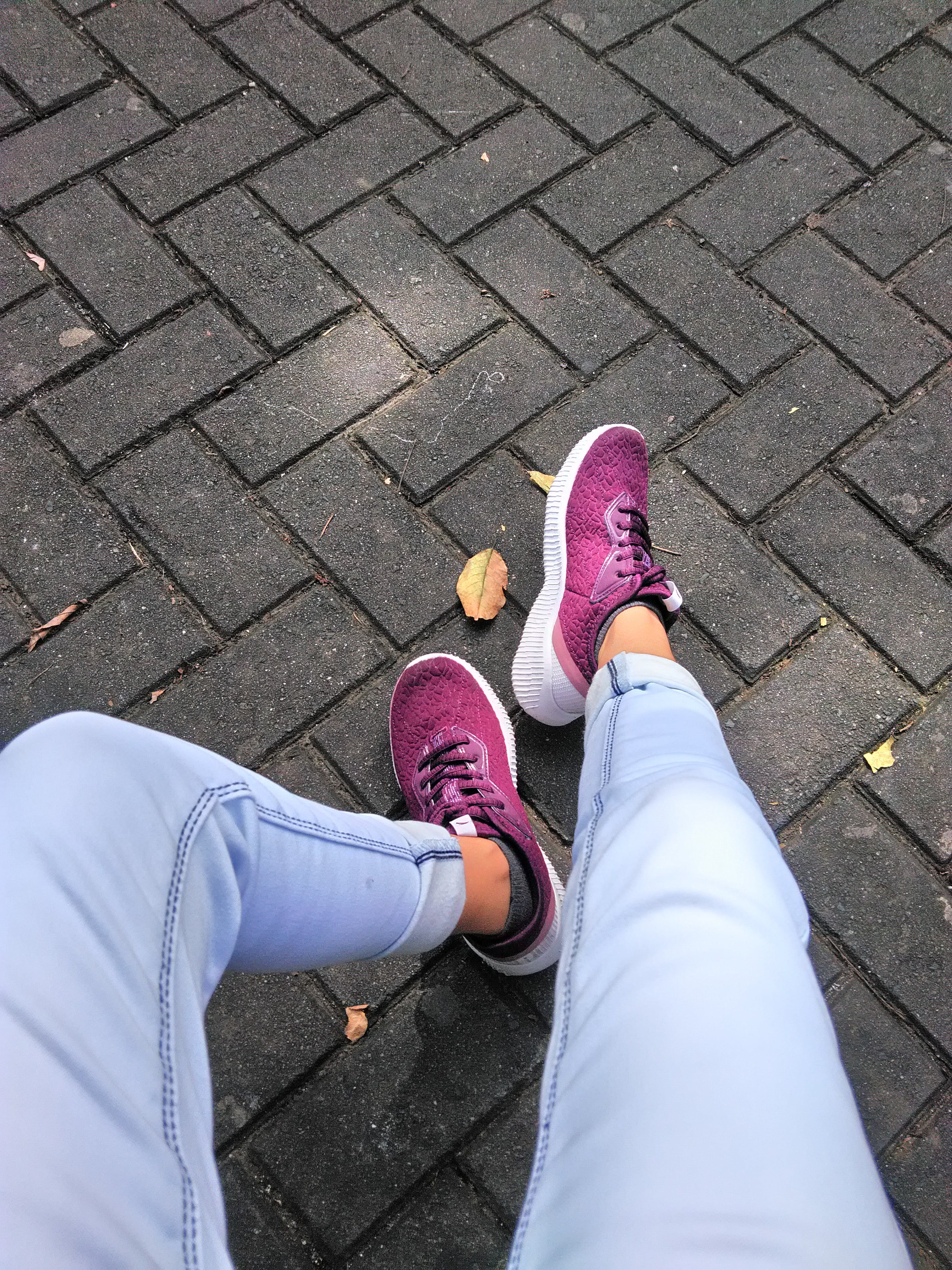 Person Wears Purple Low-top Sneakers