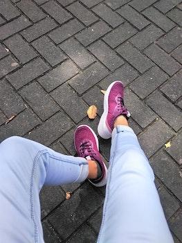 Person Wears Purple Low-top Sneakers