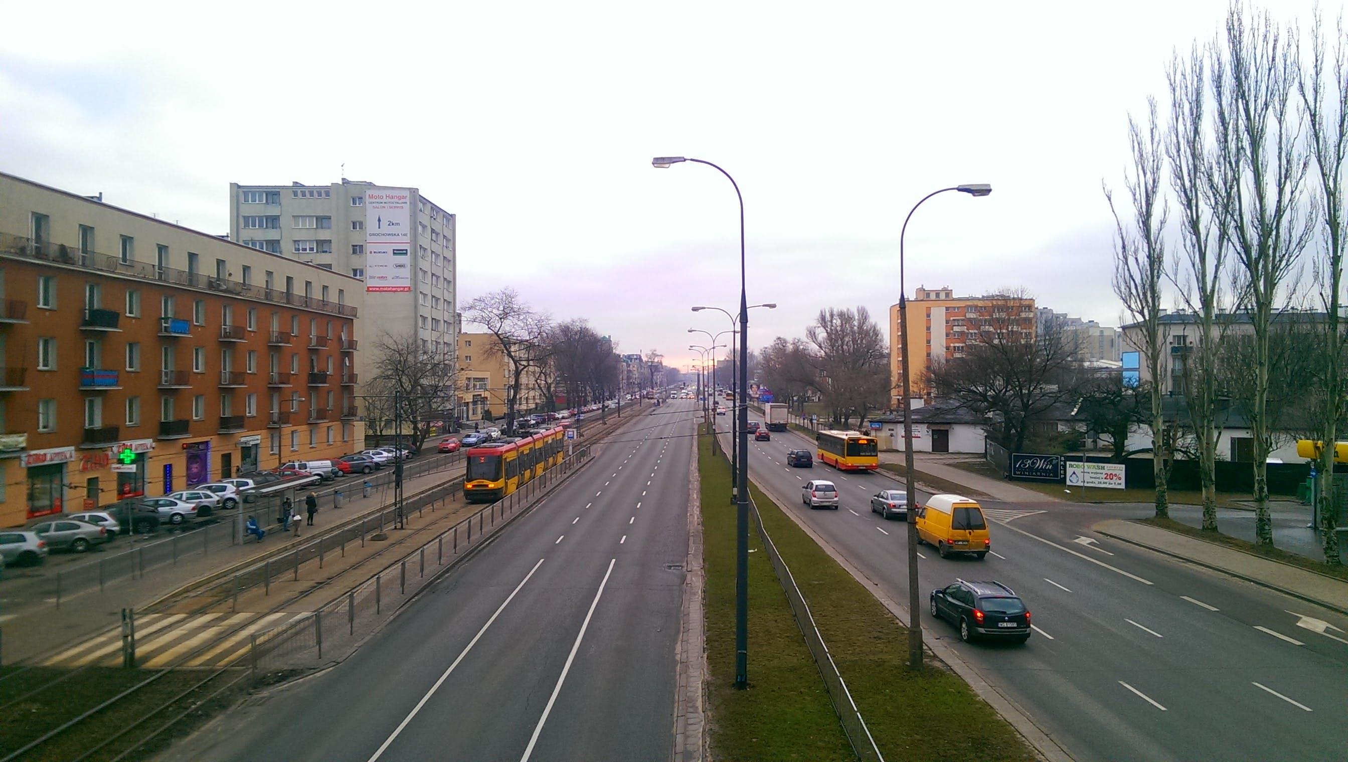 Free stock photo of street, lamps, tram