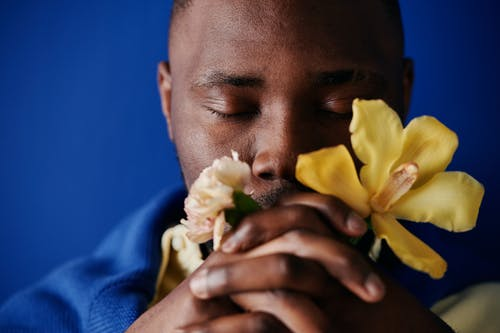 A man With Flowers on Hand