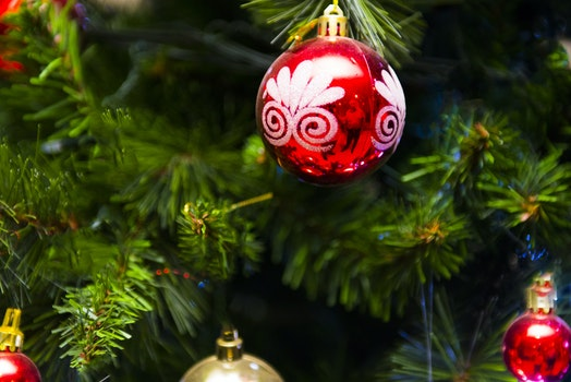 White, Red, and Gold-colored Christmas Baubles
