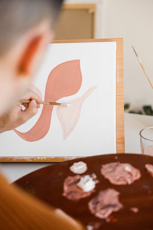 An Artist Doing Canvass Painting