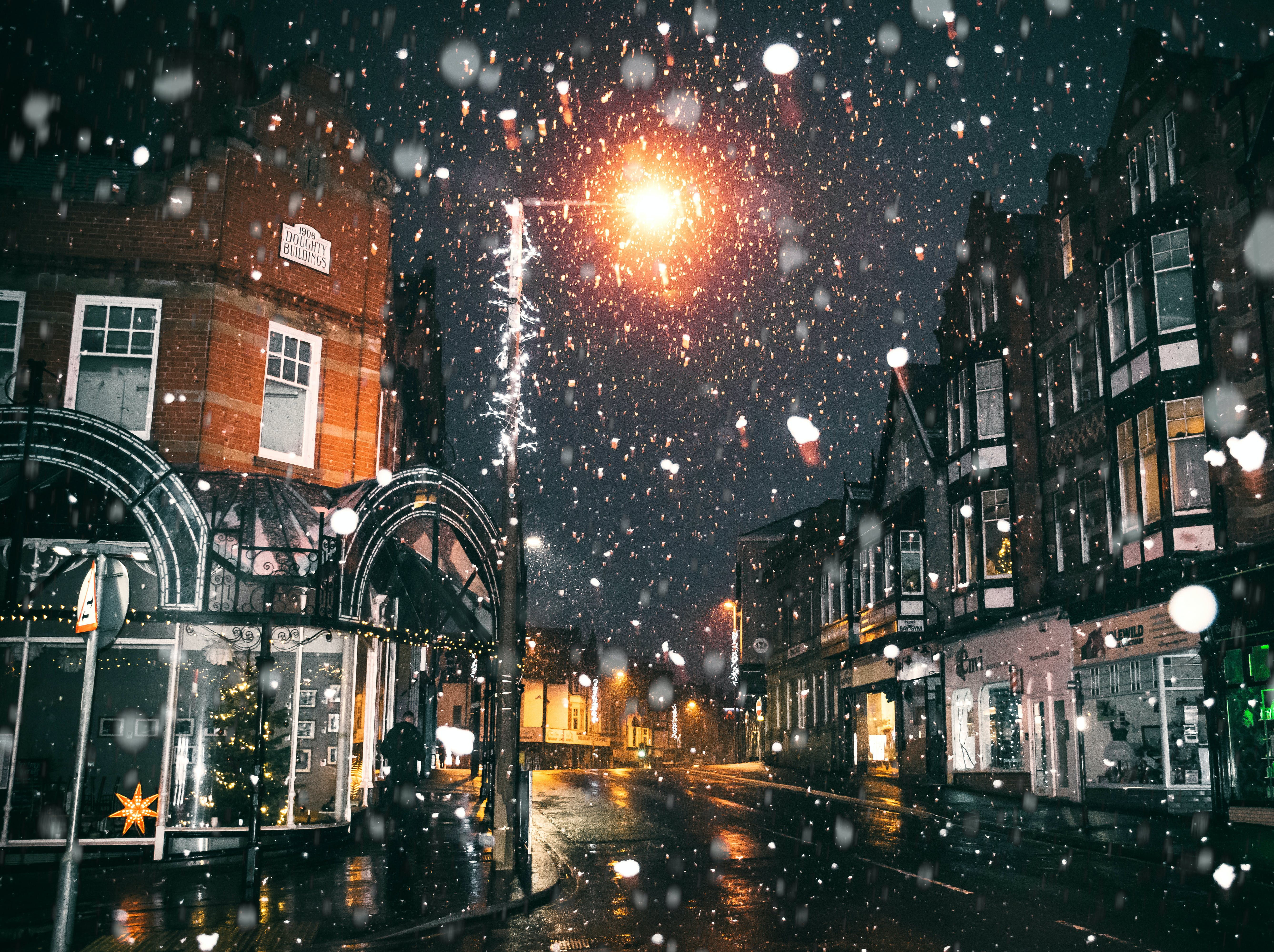 Rain of Snow in Town Painting