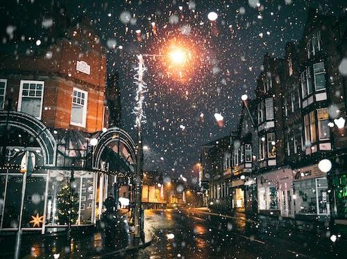 アスファルト, クリスマスの灯り, コールド, スノーフレークの無料の写真素材