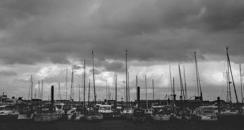 Gray Scale Photo of Group of Boats