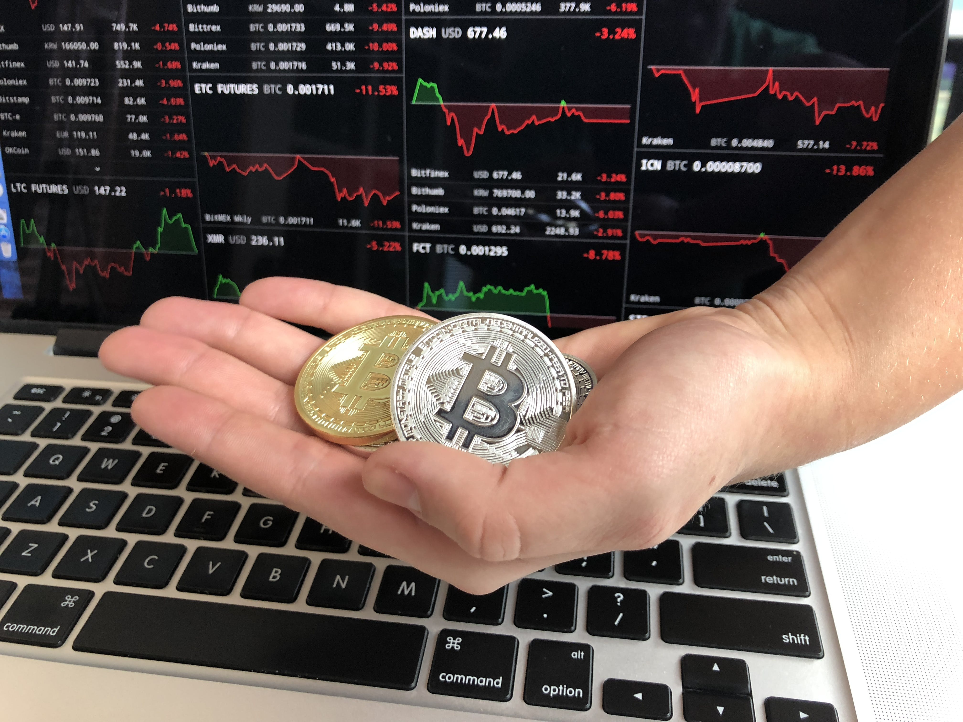 Free stock photo of Hand holding bitcoins