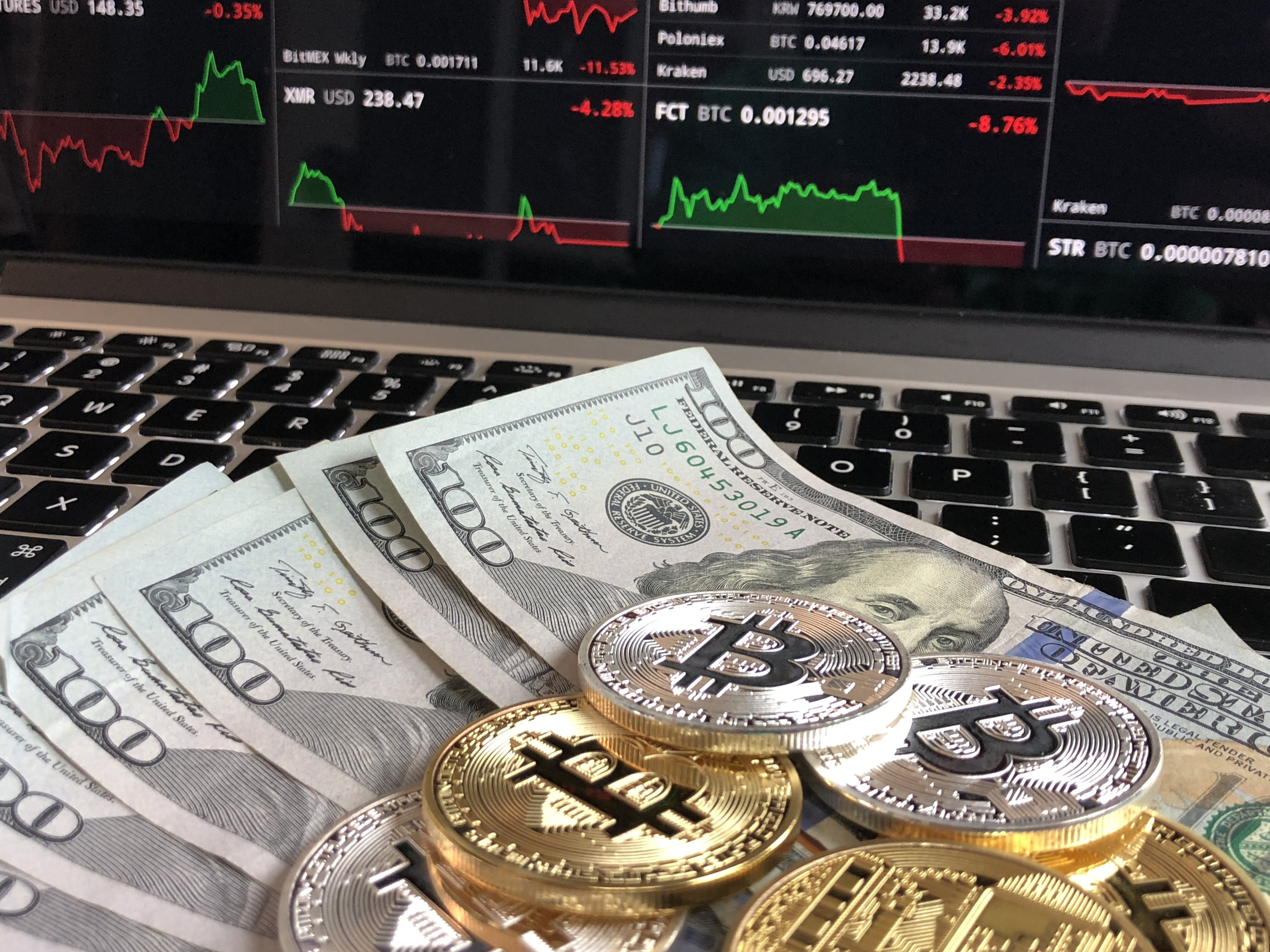 Free stock photo of money, graph, cryptocurrency, Bitcoins and cash