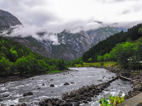 Calm River Near Mountains