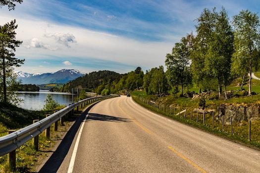 Brown Asphalt Road Beside Lake