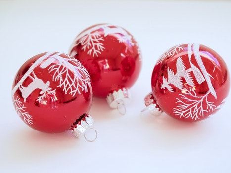 Three White-and-red Christmas Tree Printed Baubles