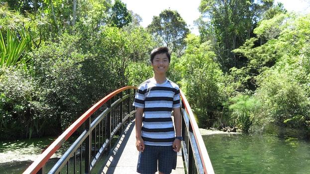 Free stock photo of bridge, lake, boy