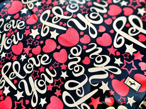 Black and Multicolored I Love You Heart Printed Textile