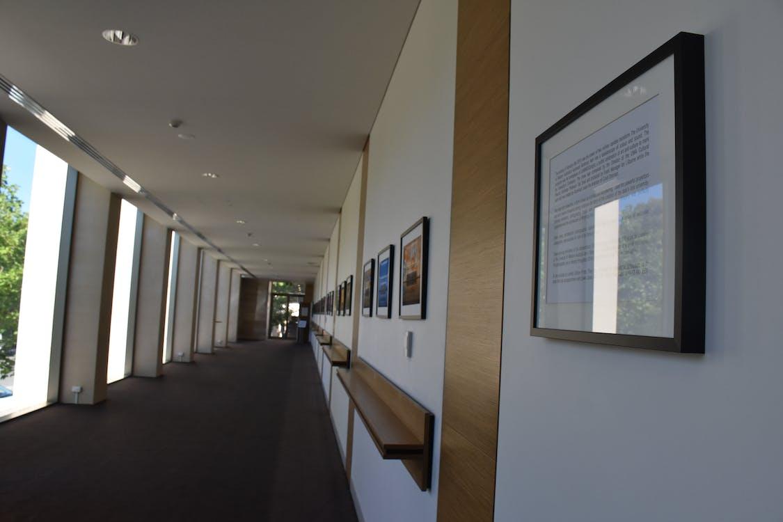 Free stock photo of hallway, photographs, university