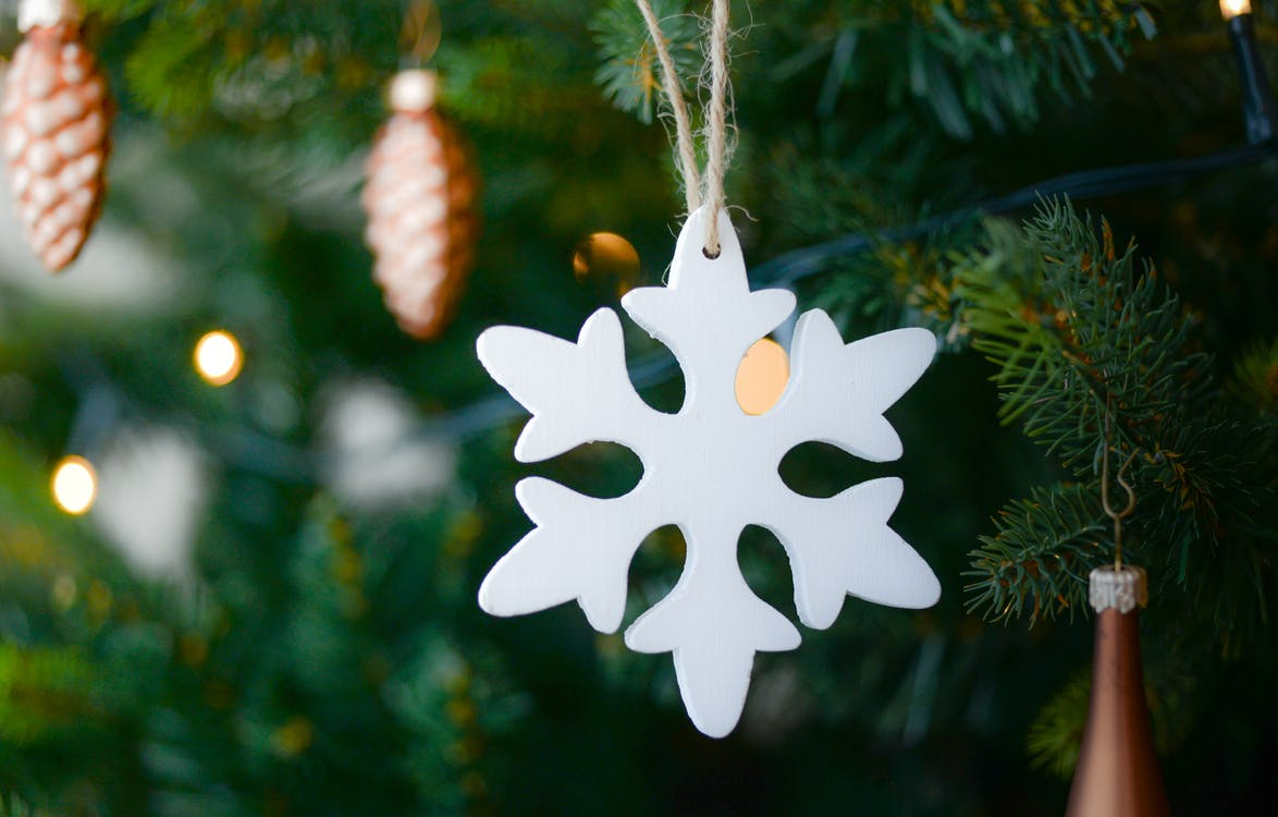 White Snow Flake Hanging on Christmas Tree