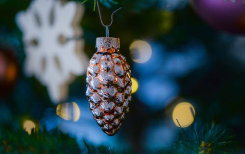 Amber Glass Pine Cone Ornament