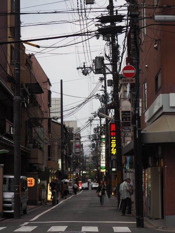 building, busy, japan
