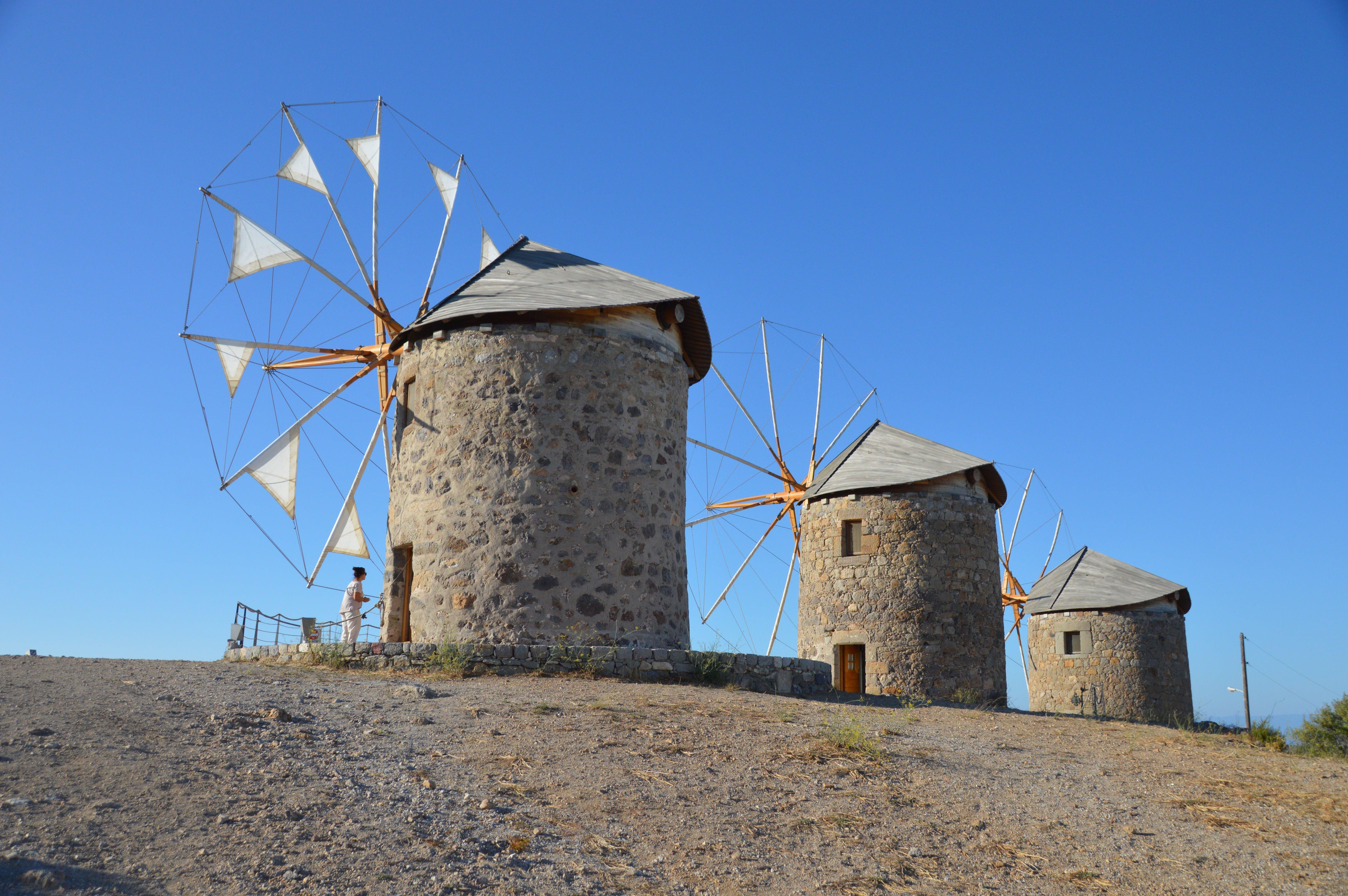 Free stock photo of aegean, greece, Patmos Island, windmills