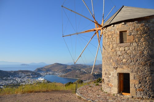 ege denizi, patmos, yel değirmeni, Yunanistan içeren Ücretsiz stok fotoğraf