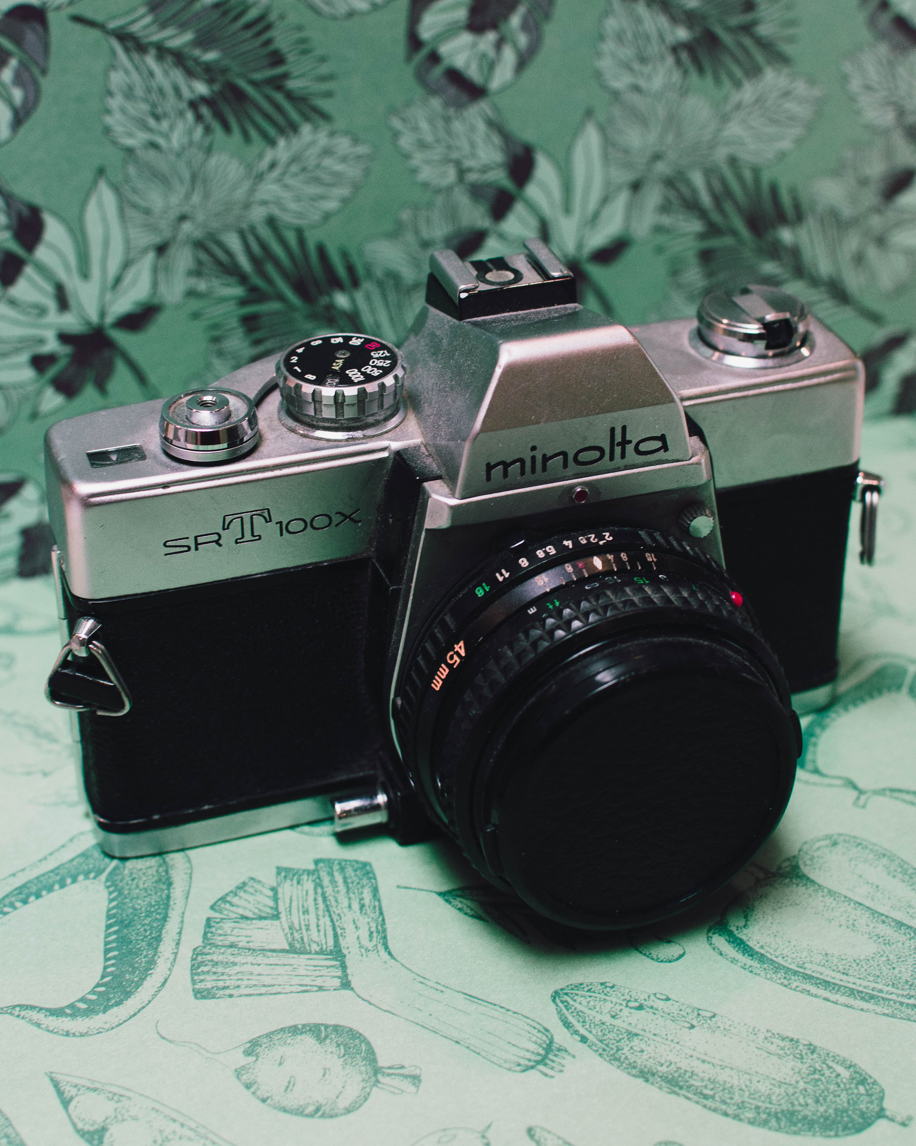 Black and Grey Minolta Dslr Camera