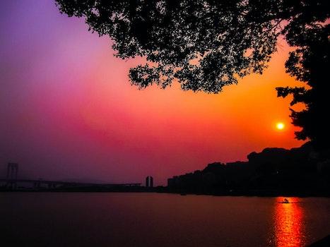 Free stock photo of sunset, lake, fire, orange