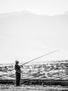 fishing, sea, black-and-white