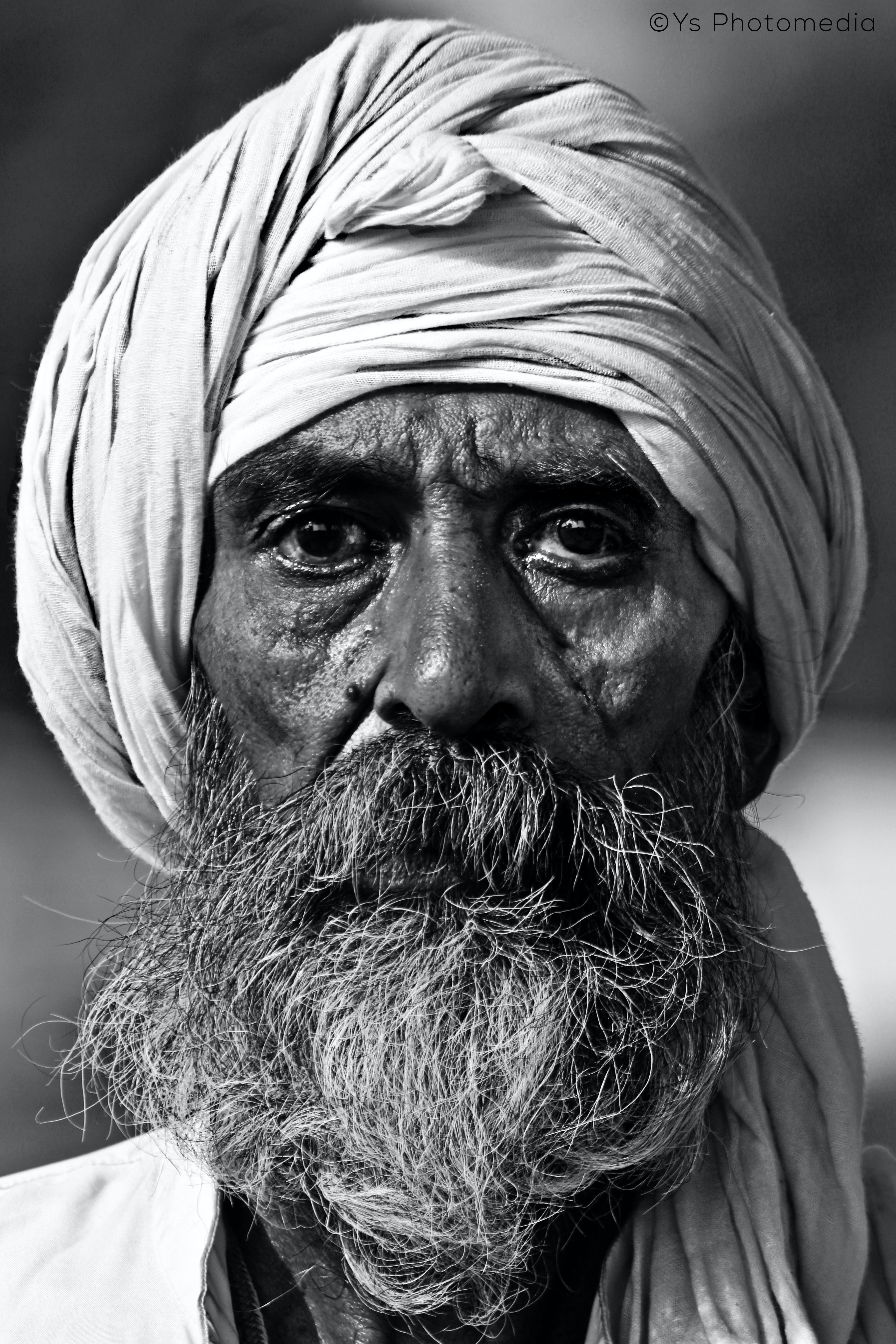 Man Wearing White Turban Grayscale Photo