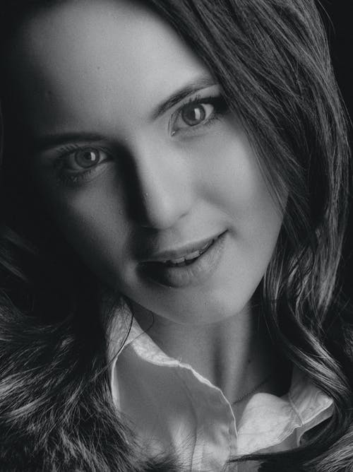 Grayscale Photo of a Pretty Woman