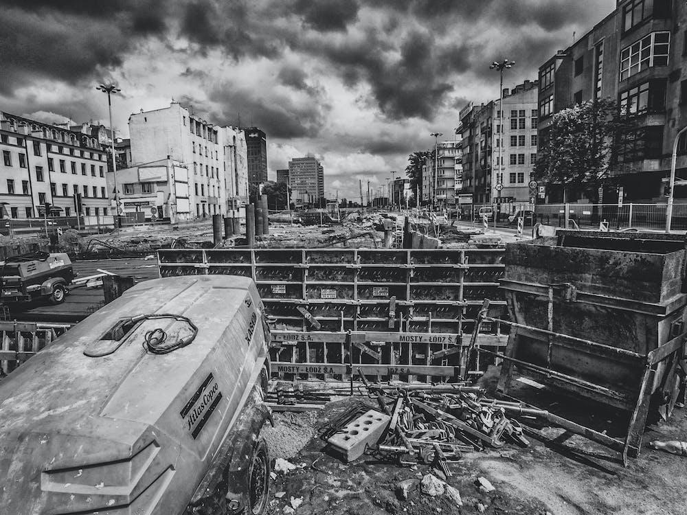 Free stock photo of apocalypse, black and white, town