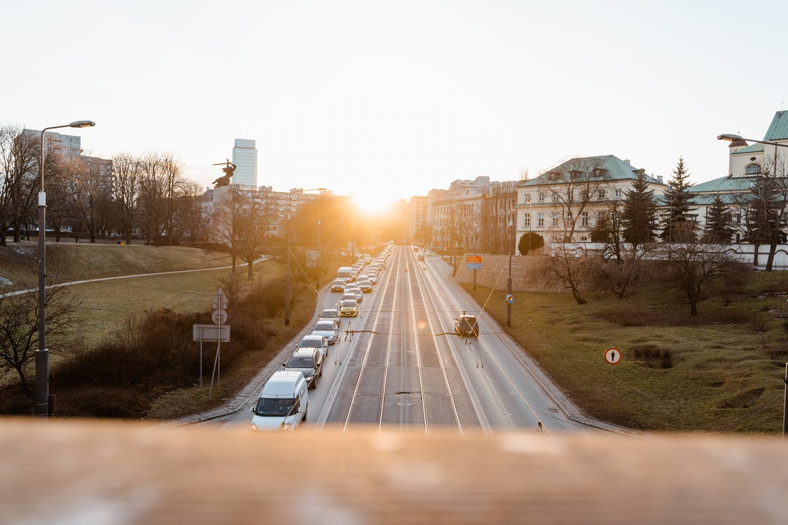 City Road With View Of Sunset