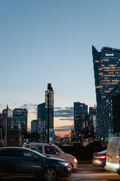 City Skyline Of Warsaw At Dusk