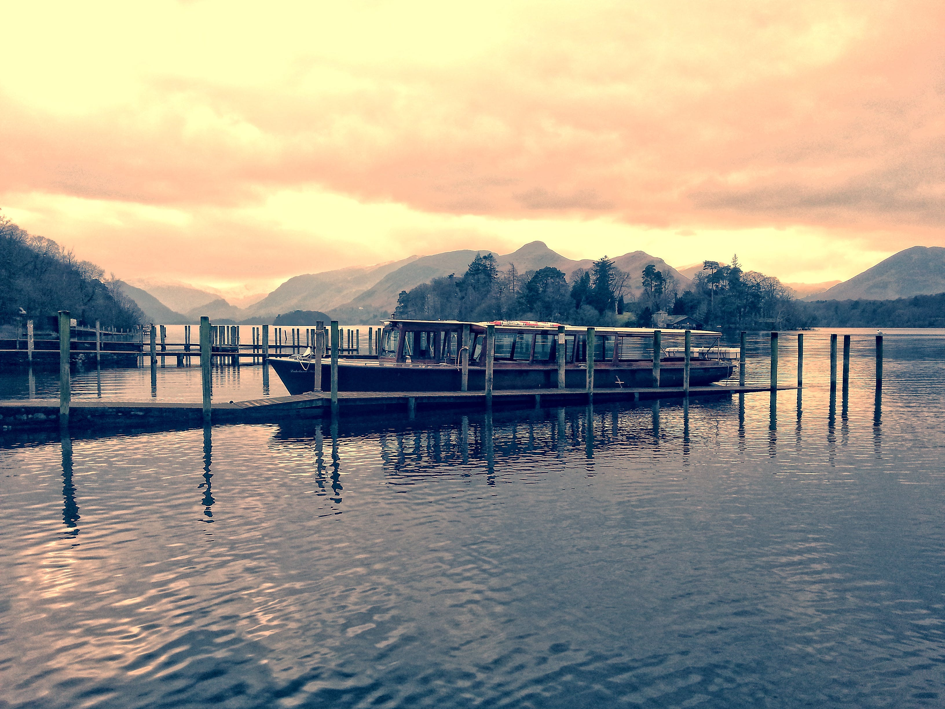 Foto d'estoc gratuïta de aigua, arbres, barca, capvespre