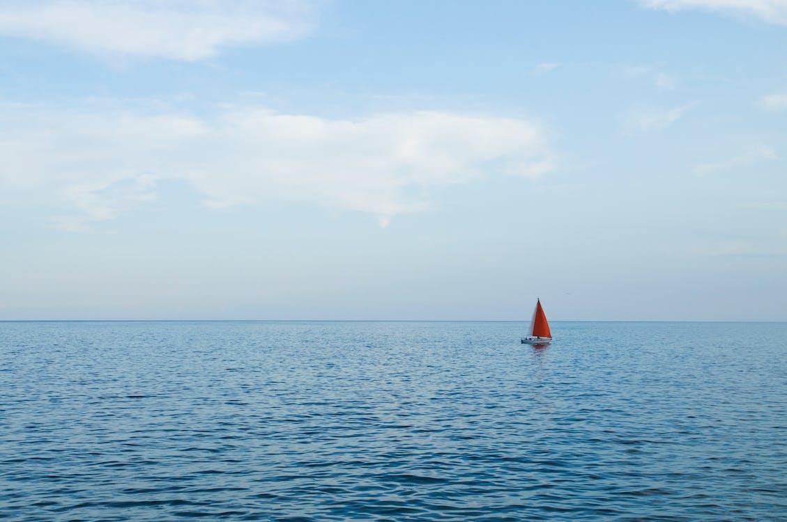 člun, horizont, klidné vody