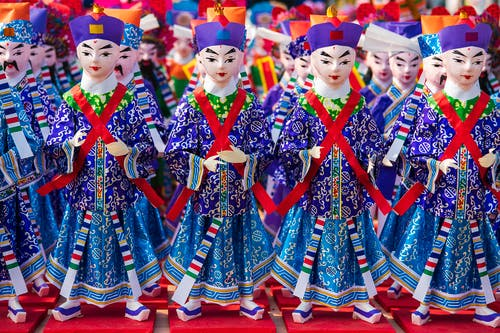 Red and Blue Traditional Dress