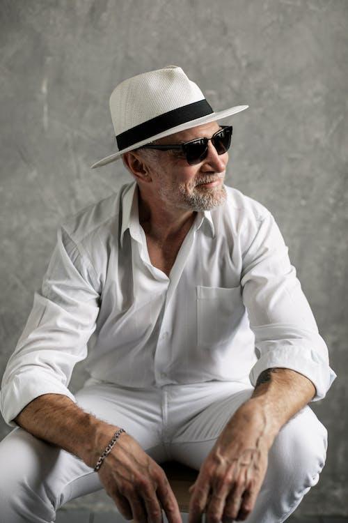 Elderly Man in White Long Sleeves