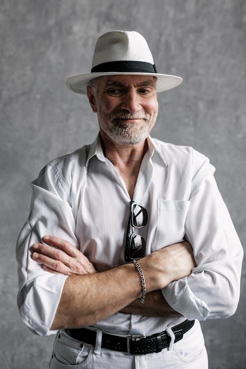 Elderly Man in White Dress Shirt Smiling