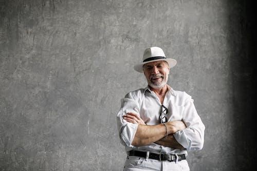 Elderly Man in White Dress Shirt Laughing