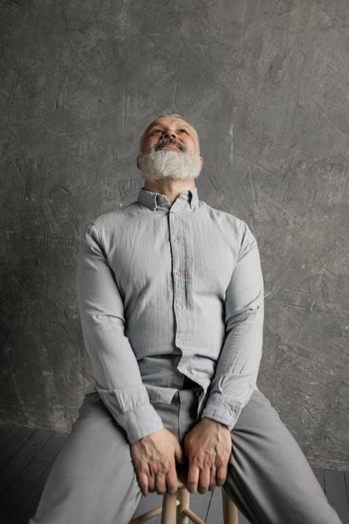 Elderly Man Looking Upwards