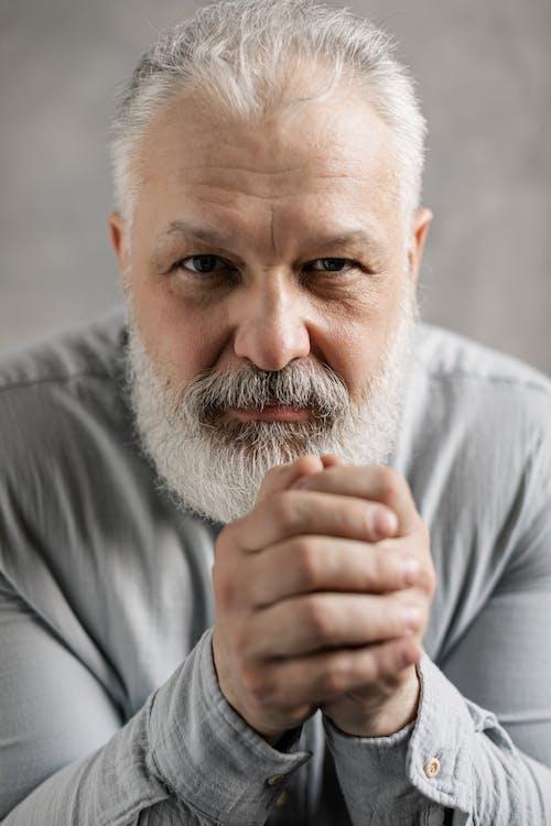 Elderly Man in Gray Long Sleeves