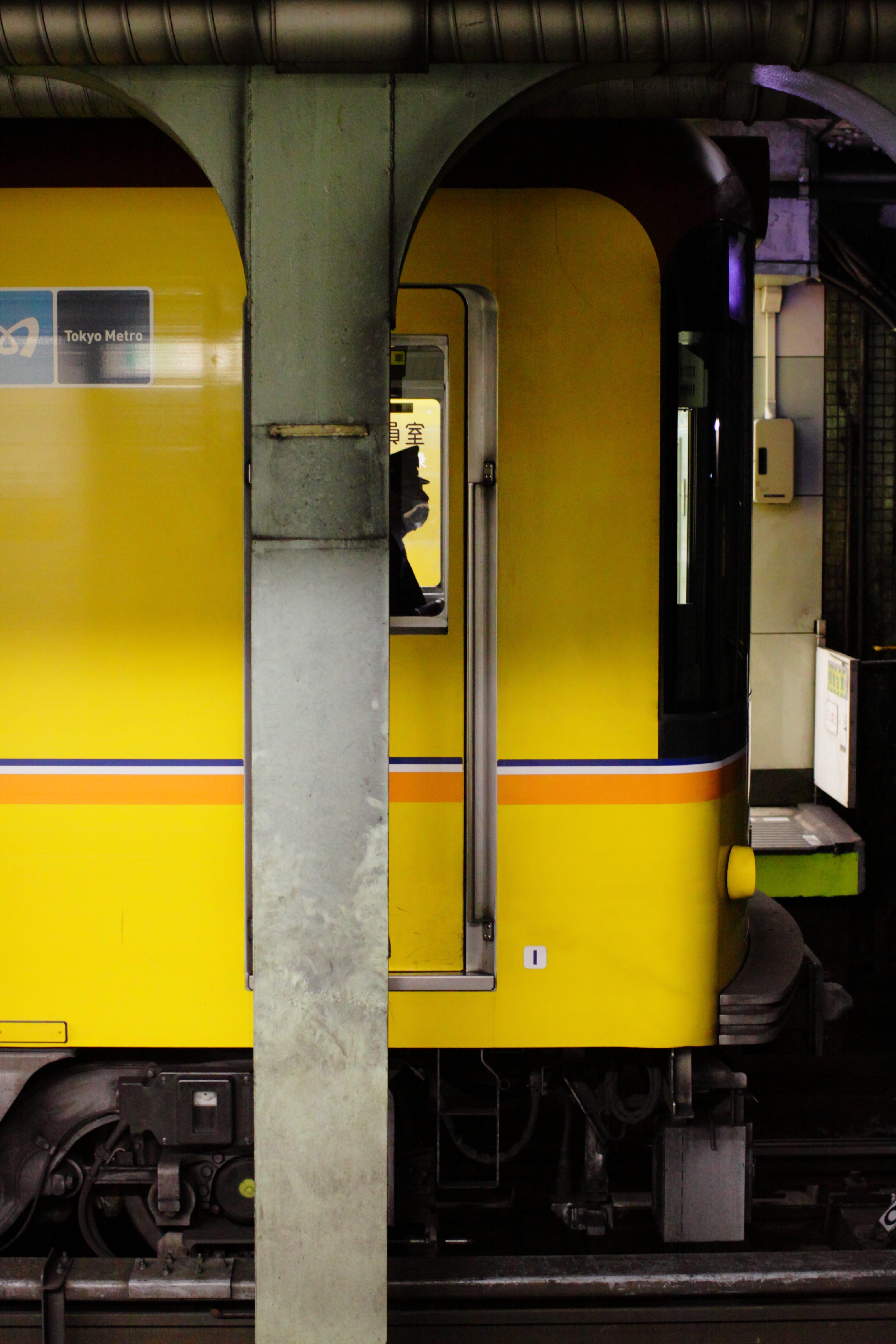 Free stock photo of train, yellow, help, subway