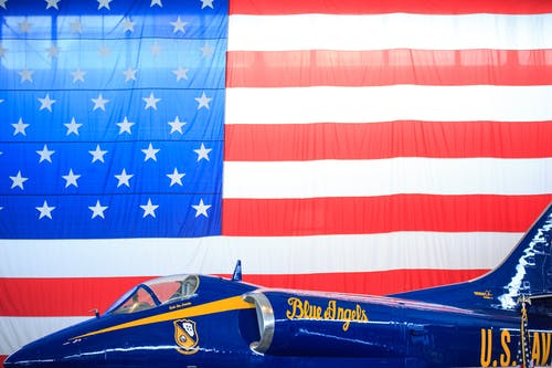 Free stock photo of american flag, blue, blue angels