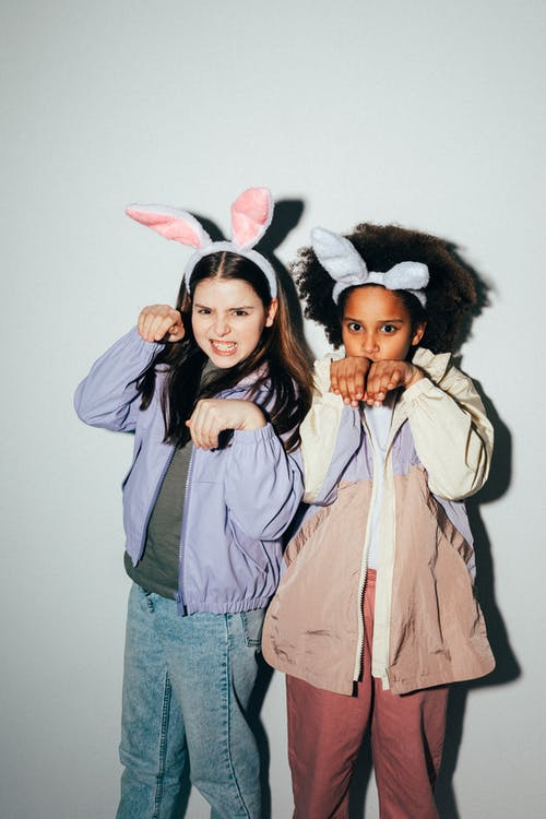 Girls Wearing Bunny Ears Posing