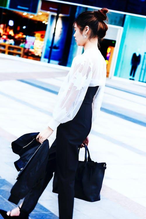 Free stock photo of black coat, earring, female