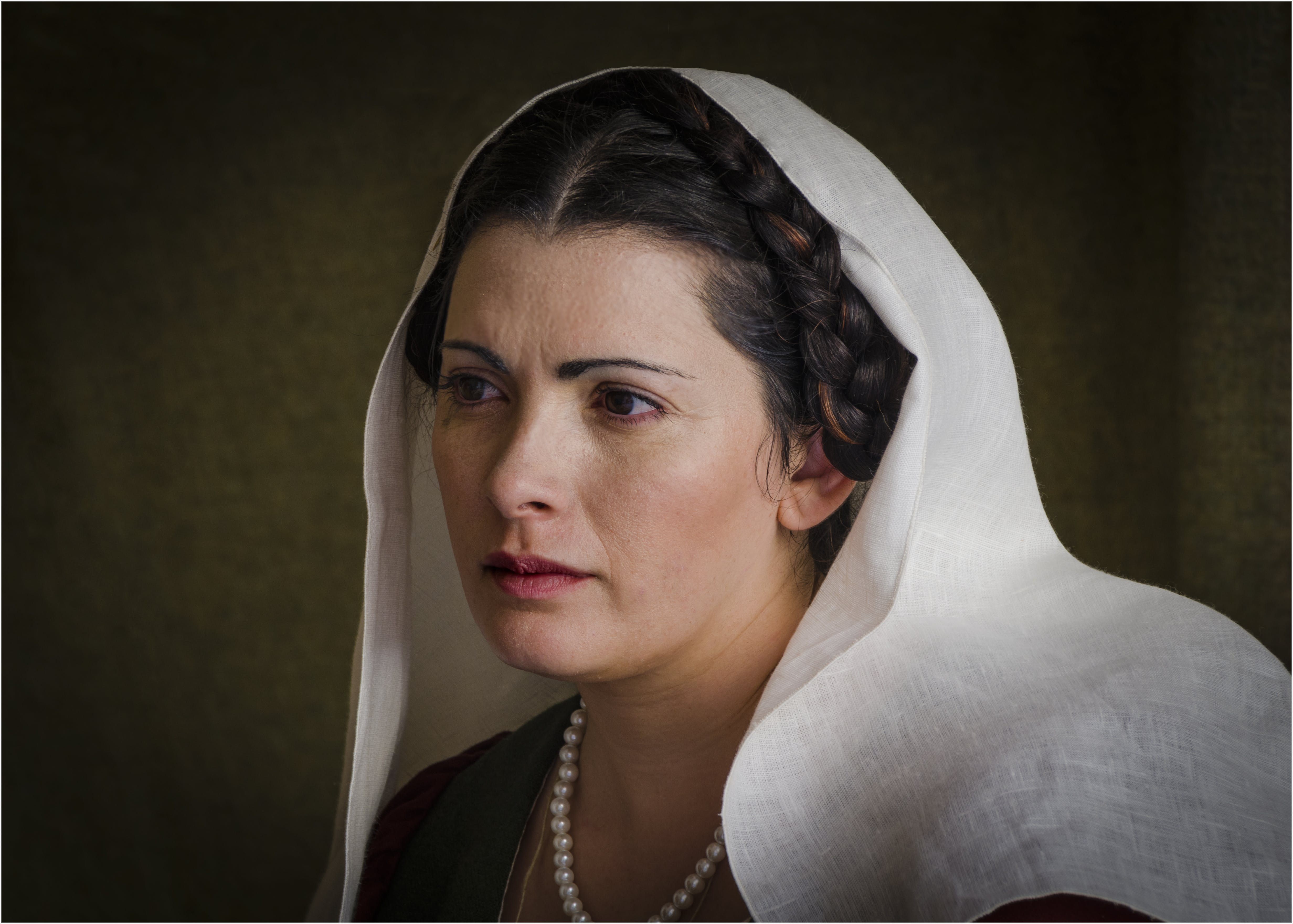 Black Haired Woman Wearing White Veil