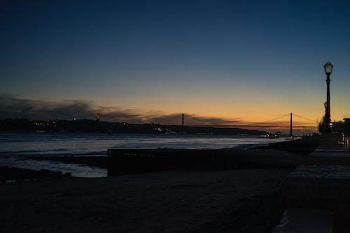 Free stock photo of bridge, cristo rei, golden sunset