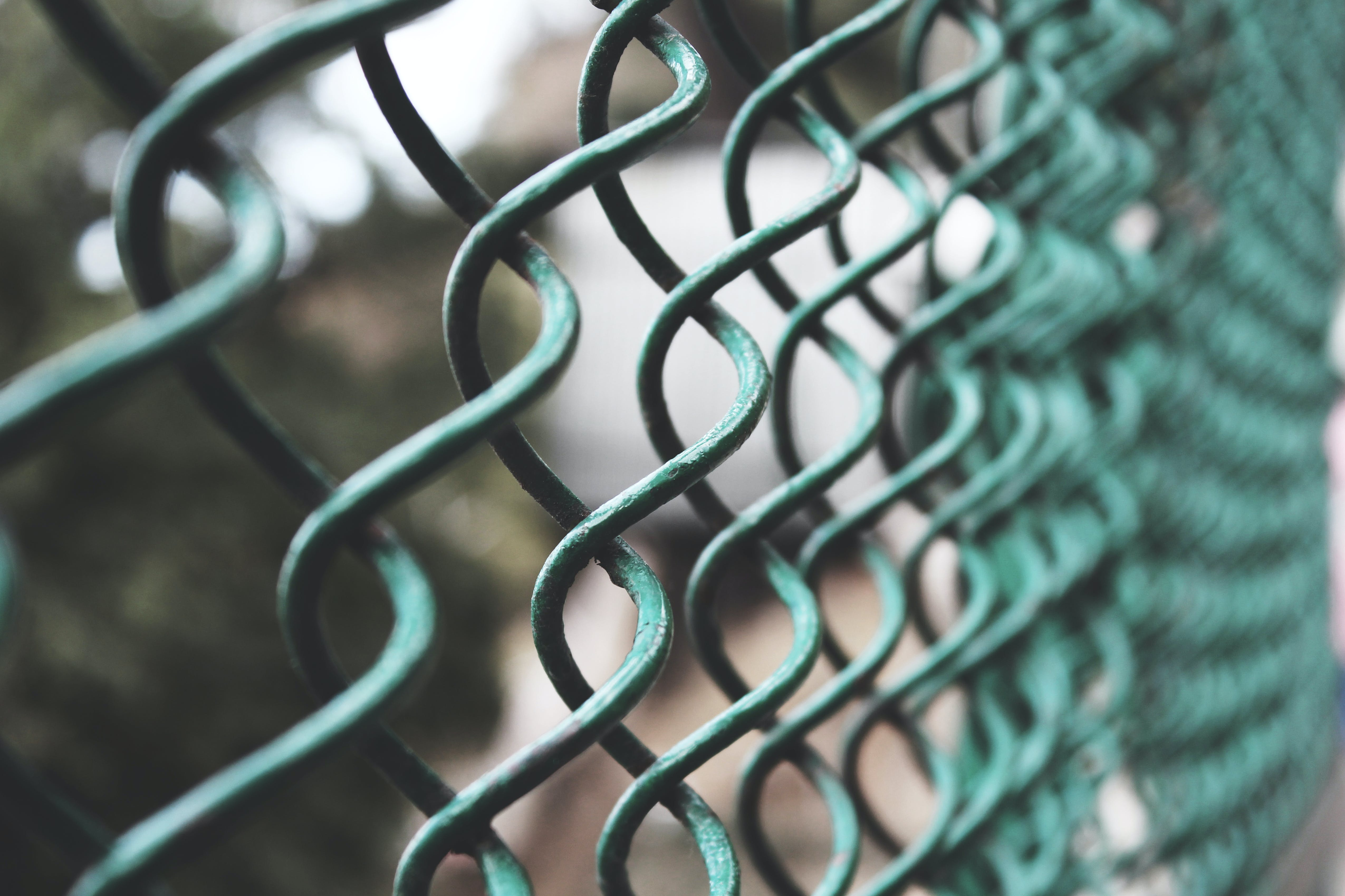 Selective Focus Photography of a Green Link Fence