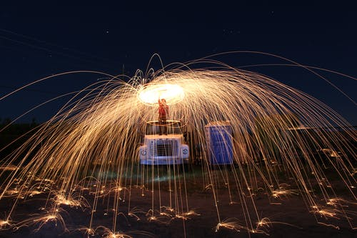 Free stock photo of longexposure, night time, steelwool