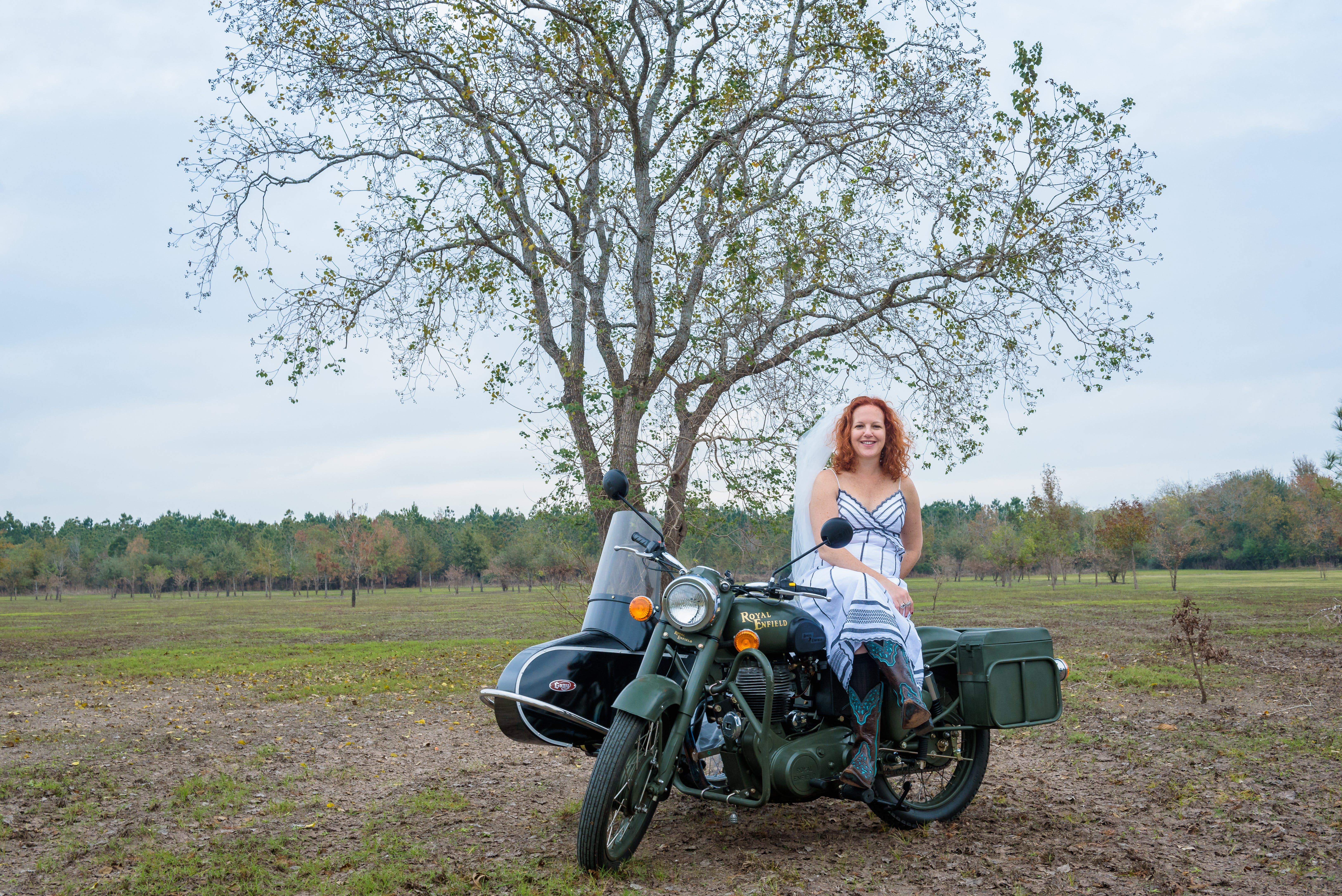 Free stock photo of bride, motorcycle, sidecar