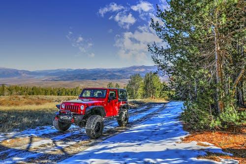 คลังภาพถ่ายฟรี ของ รถจี๊ป, หิมะ